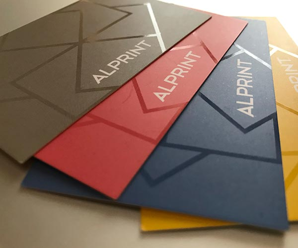 Biglietti da visita personalizzati uv selettivo plastificazione Soft-Touch Alprint
